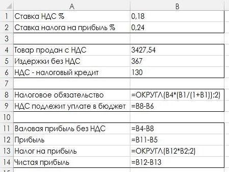 Таблица расчета прибыли предприятия в Exel